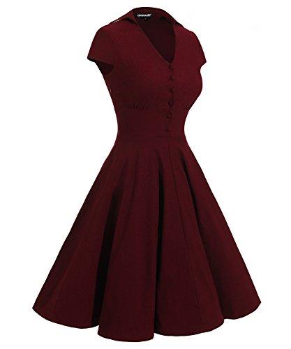 Gigileer 1950's Rockabilly Damen Kleider Swingkleid Cocktail Kurzarm Knielang festlich Party Burgundy XXL -
