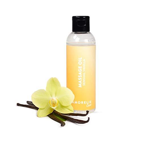 Amorelie Basics Sensual Vanilla Massageöl (100 ml) – feuchtigkeitsspendendes, nicht klebendes Körperöl zum Massieren – dezentes Duftöl für echtes Spa-Feeling