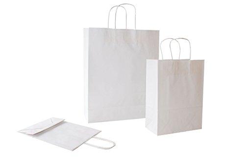 PGV Papiertragetaschen mit Kordelhenkel Weiss / Bianco 100 g/m² (18 + 8 x 24 cm, 25 Stück)
