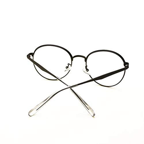 Shiduoli Metall Retro Männer und Frauen runde Brille Nicht Brillen (Color : Black)