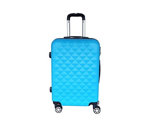 QTC XL Hartschalen Reisekoffer Kairo mit 4 Doppelrollen und Sicherheits Zahlenschloss 95 Liter Fassungsvermögen (Azurblau)