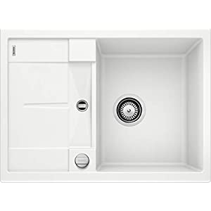 Blanco Metra S Compact PuraDur II Silgranit – Fregaderos de cocina de un seno, 45 cm, color blanco