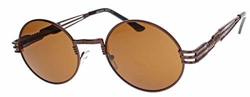 amashades Vintage Classics oversized Retro Sonnenbrille 90er Jahre Designer Stil oval gold farbige Gläser Damen Herren QV28 (Copper/Brown)