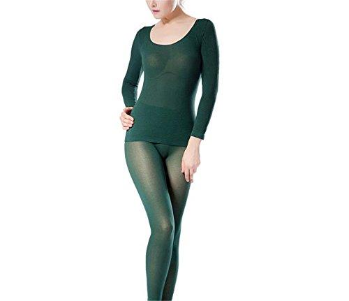 hippolo Damen Rundhalsausschnitt Top & Bottom Ultra Dünn Thermo-Unterwäsche (One Size) grün