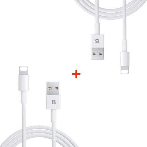 LOT de 2 Chargeurs Boutiskill - Câble 1 Mètre Blanc renforcé USB Synchro Data pour iPhone 5 5S 5C SE 6 6S 7 8 Plus X XS Max ...