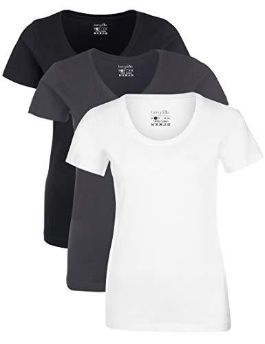 Berydale mit mit Rundhalsausschnitt T-Shirt, Weiß/Forged Iron/Schwarz, M, 3er-Pack (Weißen Schwarzen Verzierungen Und)