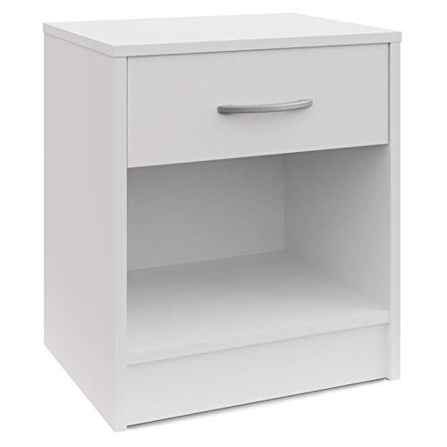 Deuba Nachttisch Nachtschrank Schublade & Ablagefach 50 x 40 x 35 cm Weiß Nachtkommode Nachtkonsole für Boxspringbetten