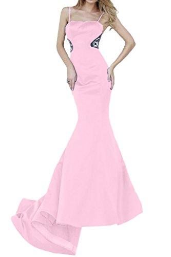 Ivydressing Damen Spaghetti Mermaid Lang Satin Festkleider Promkleid Abendkleid Rosa