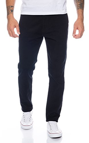 Rock Creek Herren Designer Chino Hose Regular Slim Chinohose RC-390 Schwarz W32 L30 (Slim Hose Chino)