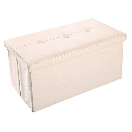 BATHWA Sitzhocker Sitzbank mit Stauraum faltbar Sitztruhe Sitzwürfel Aufbewahrungsbox 77 x 38 x 38 cm belastbar bis 150kg Beige