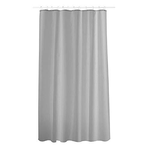 casa pura Rideau de Douche Solid Grey | 2 hauteurs | avec 12 Anneaux ovales | Lavable en Machine | matière résistante et Anti moisissure | 180x180cm