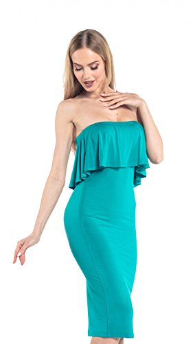 Glamour Empire. Donna Vestito Elasticizzato Senza Spalline Frontale Svasato. 571 Verde Acqua