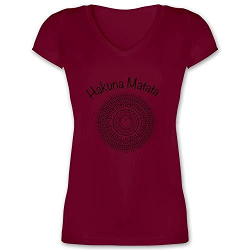 Statement Shirts - Mandala Herz - S - Bordeauxrot - XO1525 - Damen T-Shirt mit V-Ausschnitt