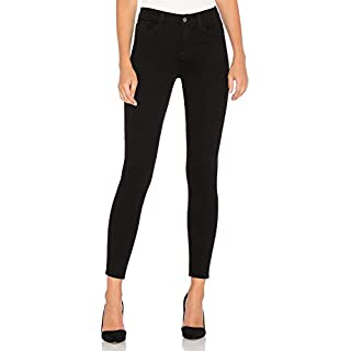 AUSERO Women's Mid Rise Super Skinny Jeans Cigarette Leg in Black Shadow, 27