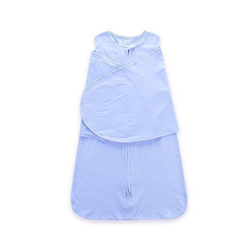 Miracle Baby Sac de Couchage Avec des Ailes En Coton 100% , Couverture Emmaillotage Bébé Coton Bleu Pour Bébés 6 Mois
