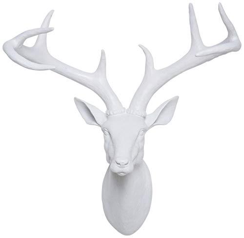 Kare Design Deko Kopf Deer White, kleines Hirschgeweih Jagd Wanddekoration, Tierkopf, Weiß (H/B/T) 45x40x20cm