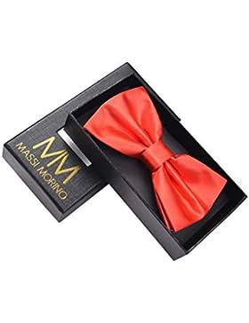 Massi Morino Pajarita con caja de regalo, lazo ajustable de diseño en diferentes colores (Rojo)