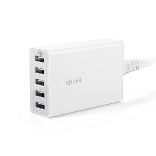 Anker power port 40 w 5 porte usb caricatore, adattatore di alimentazione usb per iphone 7/6s/6 plus, ipad air 2/mini 3, galaxy s7/s6/s6 edge e altri (bianco)