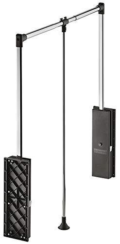 Gedotec Wardrobelift Dämpfung Schrank-Lift Kleiderlift Kleiderstange & Kleider-Schrank - Professional | Kleiderlüfter klappbar schwarz | verstellbar 870-1190 mm | 1 Set - Design Garderoben-Lift 15 kg