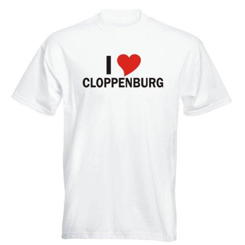 T-Shirt mit Städtenamen - i Love Cloppenburg - Herren - unisex Weiß