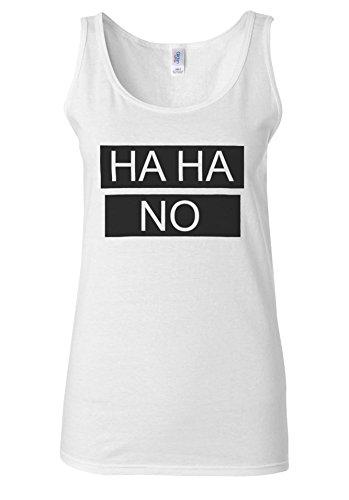 Ha Ha NO HAHA Blogger Tumblr Fashion White Women Vest Tank Top **Blanc