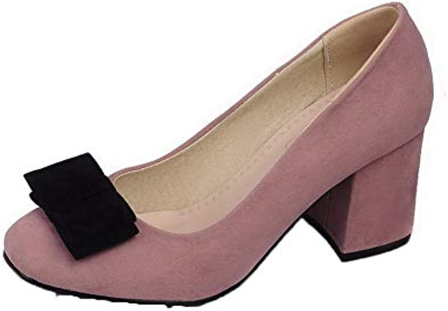 46b816b2877 AgooLar Women s Solid Frosted Kitten-Heels Square Closed Toe Pull-On  Pull-On Pull-On Pumps-Shoes