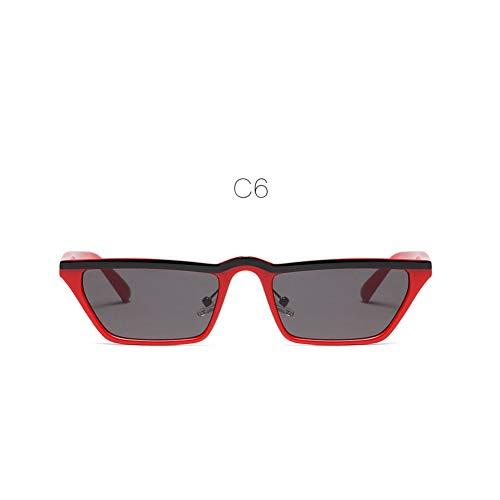 ZHENCHENYZ Quadratische kleine Sonnenbrille Damenmode Chic Cat Eye Sonnenbrille Damen Italien Schwarz Kunststoff Rahmen Rahmen