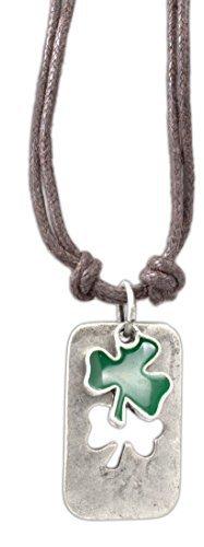 cruz-accessori-smalto-punch-out-shamrock-clover-dog-tag-su-406-cm-doppio-cavo-collana-vintage