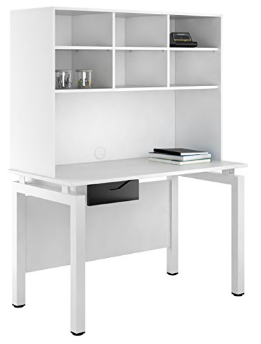 UCLIC Kit Out My Office Bench Desk Cupboard with Single Drawer and Open Upper Storage, Metal, Black Gloss, 1200 mm