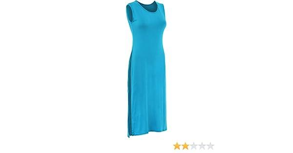 LADIES HIGH SPLIT SIDE SLIT SLEEVELESS LONG TUNIC TOP WOMEN MAXI DRESS 8-16