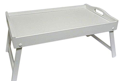 Bett Tablett - Frühstück aus Holz Lap Tray im Bett mit klappbaren Beinen Table Mate Wipe (weiß) (Beinen Klappbaren Holz Mit Bett-tablett)