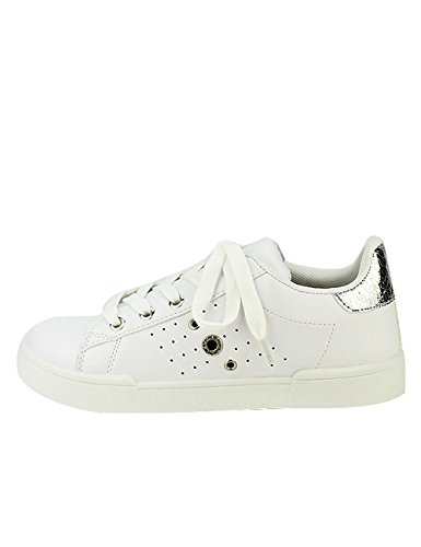 Cendriyon, Sneakers Blanches EXQUILLY Oeillets Chaussures Femme