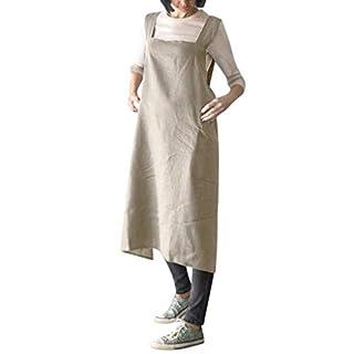 ADESHOP Party Dresses For Women, Women Cotton Linen Pinafore Square Cross Apron Garden Work Pinafore Dress(Khaki, M)