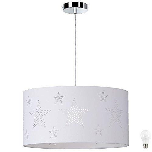 Plafonnier textile suspendu éclairage lampe pendante étoiles décor dans un ensemble comprenant des ampoules LED