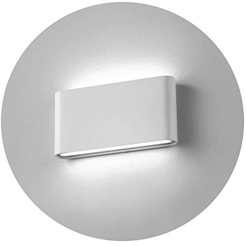 Topmo-plus 12w lámpara de pared LED impermeable IP65 moderno apliques aluminio apliques llevó exterior Arriba y Abajo Diseño Bañadore de vestíbulo 1320LM (Blanco frío / blanco)