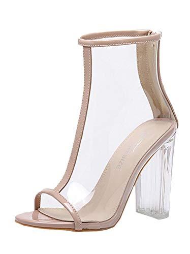 Tomwell High Heels Sandaletten Damen Stiletto Schuhe Transparente Peep Toe Sommer Sandalen Party Freizeit A Beige 38 EU Peep-toe-mini