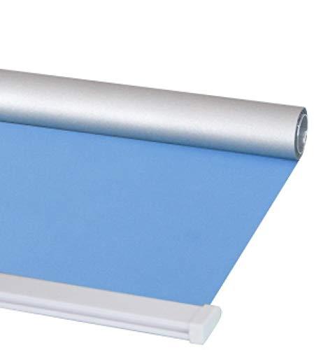 dusg Estores Collection Estor Enrollable Liso Persianas Perforar Tirar de Cuentas sombreado Completo Plata Azul Claro 80 × 200CM