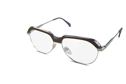 WOLFGANG PROKSCH Unisex Titan Kunststoff Brillenfassung WP-1106 Silber,Braun,Blau (58-15)