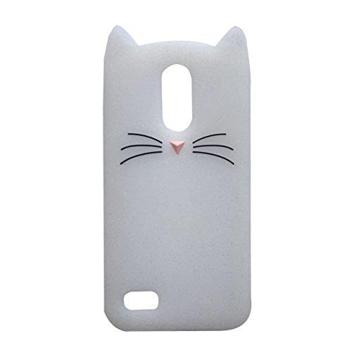 LG K102017Fall, ifunny Cute 3D Cartoon Tiere Fortune Bart Katze stoßfest und Schutz Soft Rubber Handy Case für LG K20V/LG K20Plus/LG LV5/LG Grace LTE/LG Harmony/LG K102017, White Beard Cat Tier-handy-fall