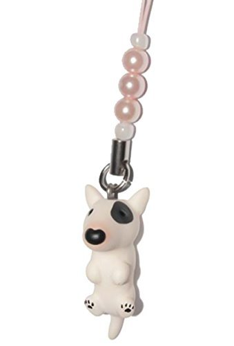 Bull Terrier [ PetLovers ] 92 Hunde Kawaii süßer Anhänger für Mobiltelefon und Mediageräte [Pink beads] DN-3901