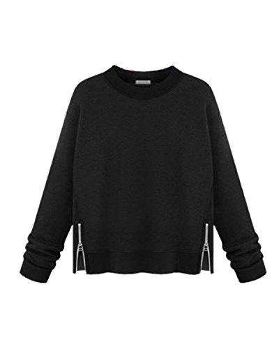 StyleDome Femme Sweatshirt Casual Manches Longues Col Rond Lâce Shirt Haut Tops Blouse Sweats Noir