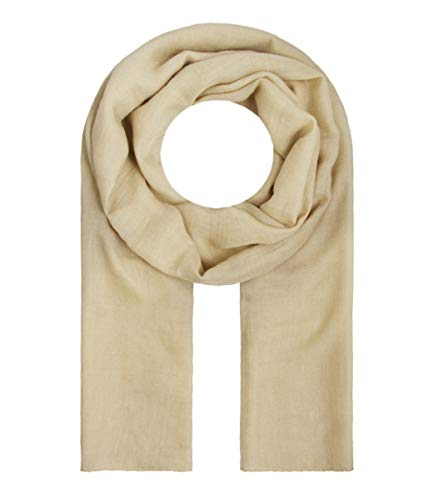 Majea Tuch Lima schmal geschnittenes Damen-Halstuch leicht uni einfarbig dünn unifarben Schal weich Sommerschal Übergangsschal (sand)