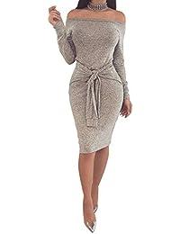 a0aec8f38e4e Mini Abito Autunno Inverno Donna Elegante Vestito con Cintura e Fiocco a  Righe Moda Abiti Corti Cerimonia…