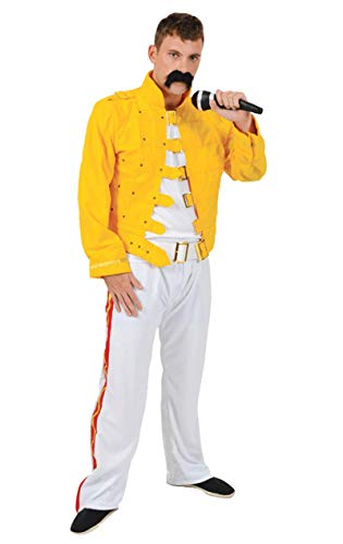 Freddie Mercury Queen Fancy Dress Costume 80s Wembley Rock Mens Standard
