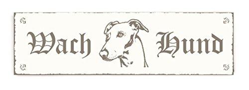 SCHILD Dekoschild « WACH HUND - GREYHOUND WINDHUND KOPF » Shabby Vintage Holzschild Türschild Dekoration Warnschild Whippet -
