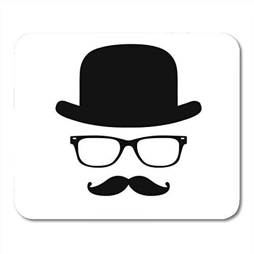 Luancrop Mauspads Bowler Moustache Invisible Man Hat Brille Gentleman English Person Character Mauspad für Notebooks, Desktop-Computer Mauspads, Bürobedarf