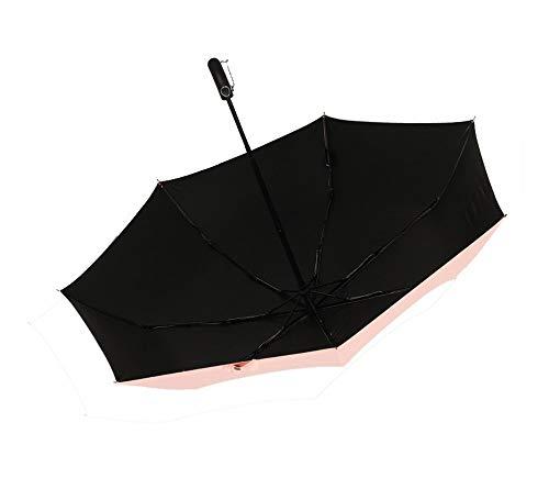 Y-S Leichter Kompakter Automatischer Faltbarer Reise-Regenschirm Portable Ms Kleiner Frischer Sonnenschirm Student Pocket Umbrella Leicht zu Tragen Frosted Rutschfester Griff - Rosa, Regenschirm,