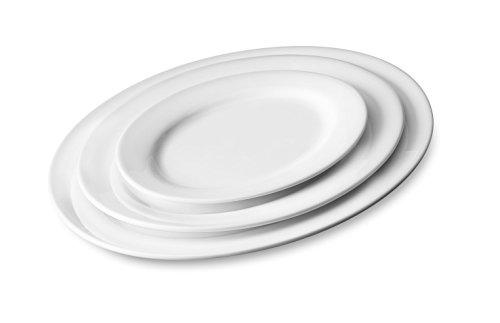 Servierteller MAXI Servierplatte Porzellan ovale Form 3 Größen 2er Set (35 x 25 x 2,5 cm)