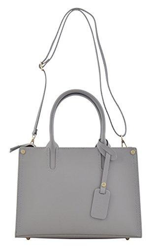 SONIA Sac Porté Main Épaule Femme Shopper Vrai Cuir Fabriqué en Italie Qualité Gris-clair