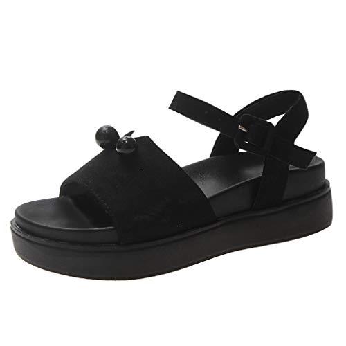 hahashop2 Sandalen Damen Sommer Schuhe, Koreanische Version der Wilden dicken Sohlen Plateauschuhe weiblichen Sommer Flache römische Sandalen